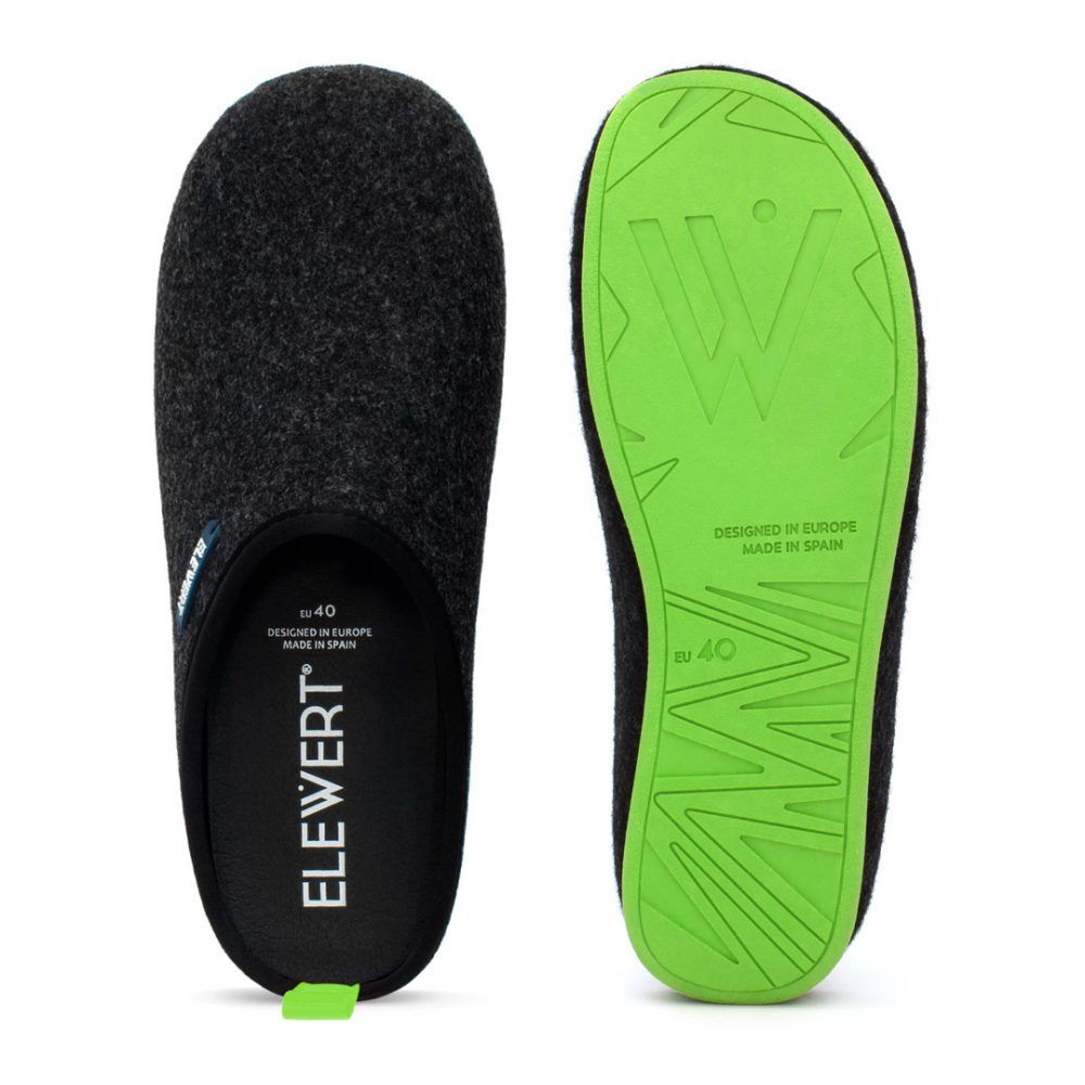 Slippers Elewert Natural negras y verdes de fieltro