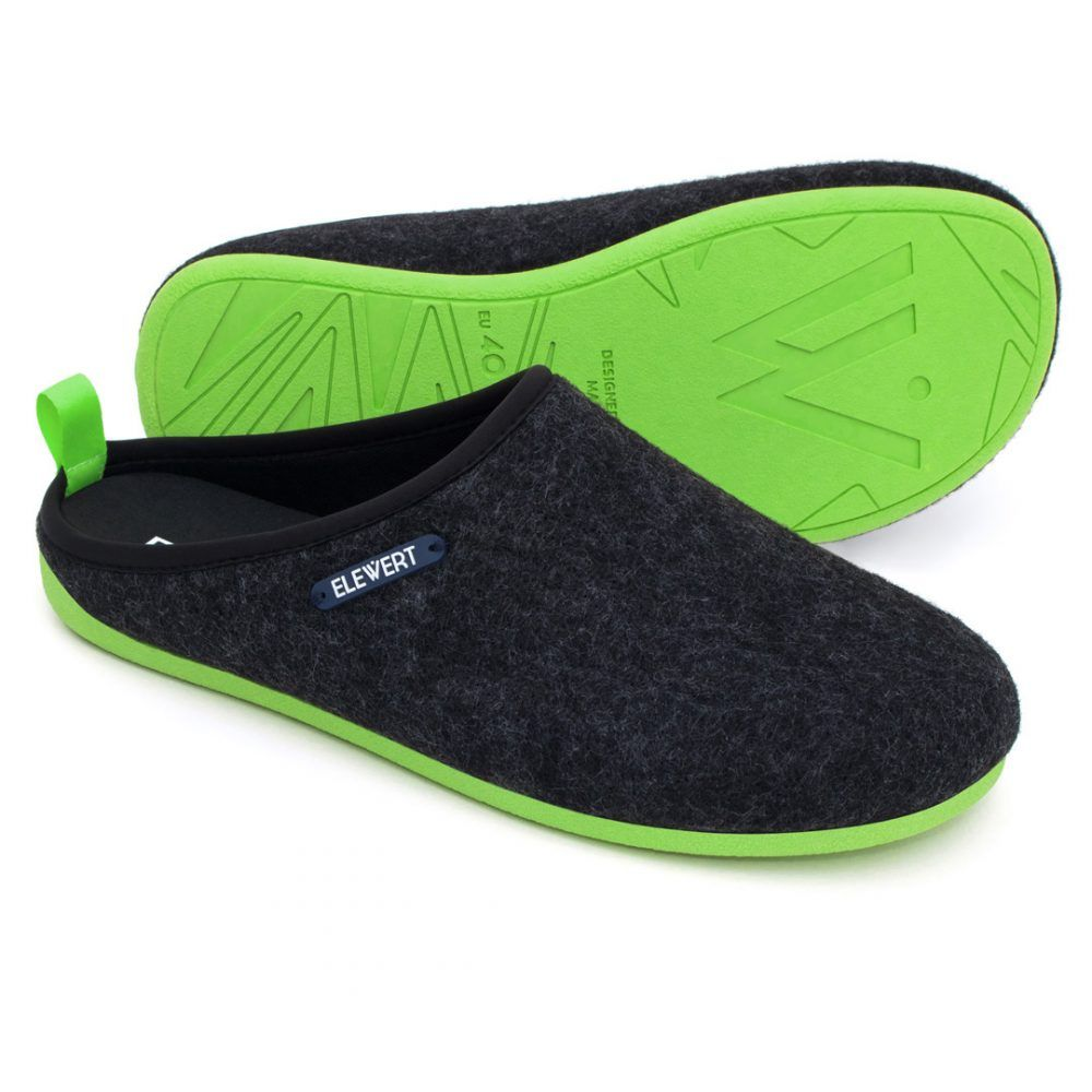 Slippers Elewert Natural negras y verdes de fieltro el regalo perfecto